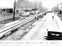 Historic photo from Saturday, October 16, 1926 - Building streetcar tracks on Dupont St, looking east, from Clinton in The Annex