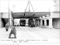 Historic photo from Tuesday, December 14, 1926 - Queen St E and Canadian National Railway grade separation, looking east in Riverside-South Riverdale
