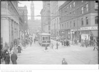 Historic photo from Wednesday, April 27, 1927 - Traffic conditions outside Laura Secord, Adelaide and Bay, 12:05 in Downtown