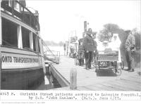 Historic photo from Monday, June 6, 1927 - Christie Street patients, conveyed to Lakeside Hospital, by S.S. John Hanlan in Harbourfront