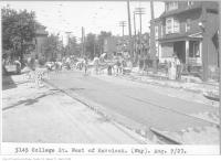 Historic photo from Tuesday, August 9, 1927 - Track construction on College St, west of Havelock in Dufferin Grove
