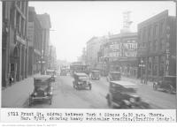 Historic photo from Thursday, March 8, 1928 - Front St, midway between York and Simcoe, 5:30 p.m., showing heavy vehicular traffic in Downtown