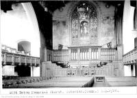 Historic photo from Thursday, August 2, 1928 - Leaded glass window - Eaton Memorial Church, interior in Forest Hill