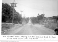 Historic photo from Tuesday, July 30, 1929 - Eglinton Avenue, looking east from, Canadian Kodak Co. plant, across Black Creek, (Traffic Study Department) in Keelesdale