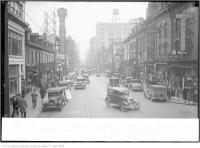 Historic photo from Monday, February 17, 1930 - 3:50pm traffic on Yonge St, looking south, from Wilton Square (Dundas) in Downtown