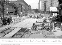 Historic photo from Friday, August 29, 1930 - College St, east, at Bay St, to Yonge St, T. Eaton furniture dept being built in Downtown