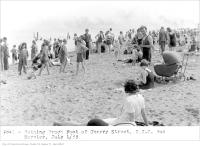 Historic photo from Saturday, July 1, 1933 - Bathing beach, foot of Cherry Street, T.T.C. bus service in Cherry Beach
