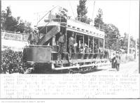 Historic photo from 1896 - Toronto Railway Company car number 11, the first car to operate on the Lake Shore line at Sunnyside crossing in Sunnyside Park