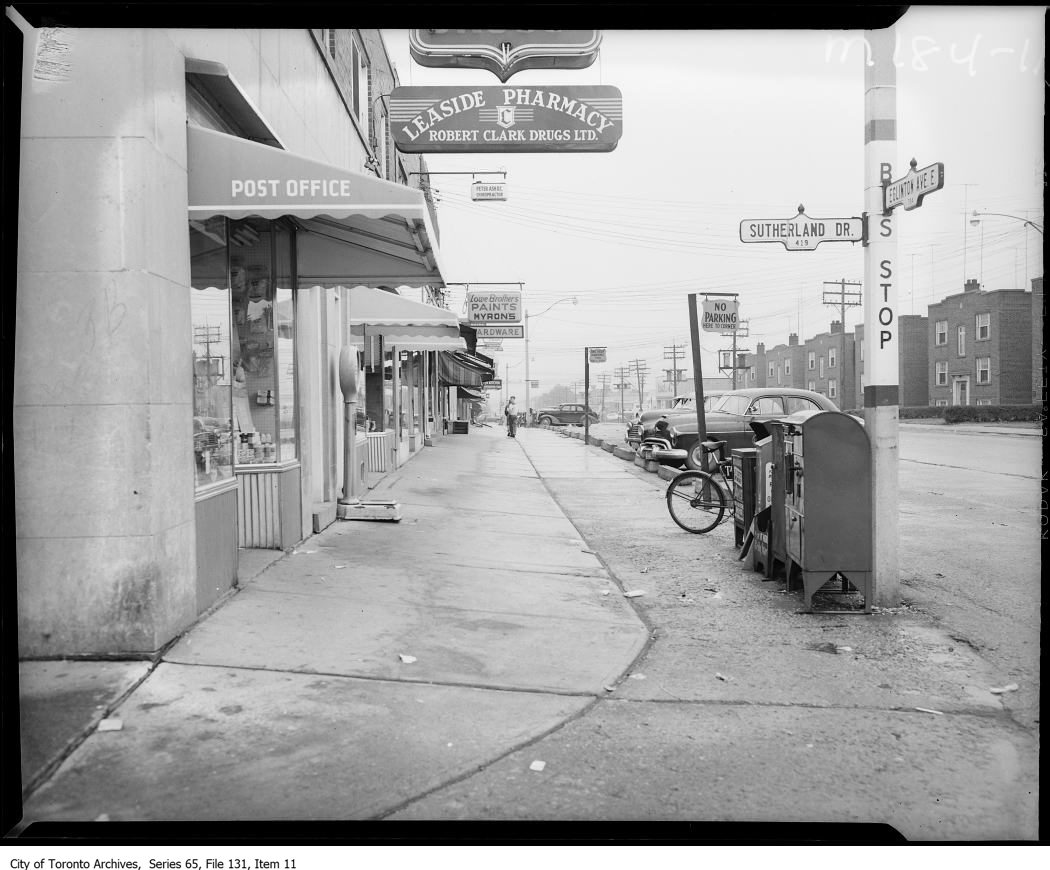 TTC bus stop, 1950s, Leaside
