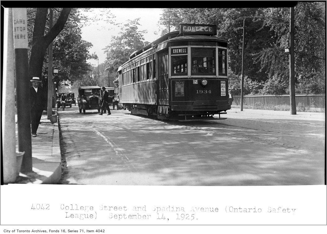 TTC car stop, 1925