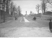 Historic photo from Tuesday, November 11, 1913 - Walmer Road north from Davenport Road (Casa Loma stables in background) in Casa Loma