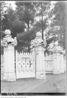 Historic photo from 1920 - Knockaloe Estate - ornate carved wooden gates at 2708 Yonge St. at Bedford Park in Bedford Park