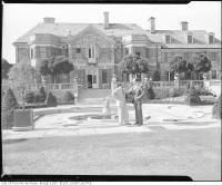 Historic photo from 1955 - Stockbroker H. Rupert Bain, of Bain, Newling and Co., on grounds of his estate, Graydon House, Don Mills Road in Don Mills