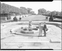 Historic photo from 1955 - Looking down the formal gardens from the fountain at Graydon Hall Manor in Don Mills