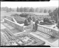 Historic photo from 1950 - Fountain, stonework, and formal gardens at Graydon Hall Manor in Don Mills