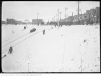 Historic photo from Saturday, January 17, 1914 - Winter tobogganing along Broadview in Riverdale park